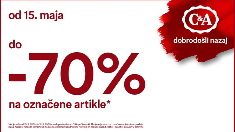 C&A: do - 70 % na označene artikle