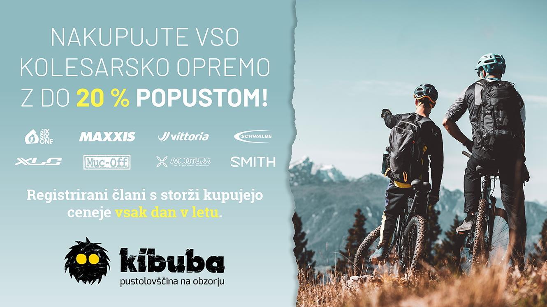 Kibuba: do 20 % popusta na kolesarsko opremo