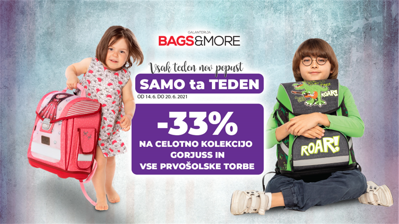 Bags&More: - 33 % na vse prvošolske torbe in celotno kolekcijo Gorjuss