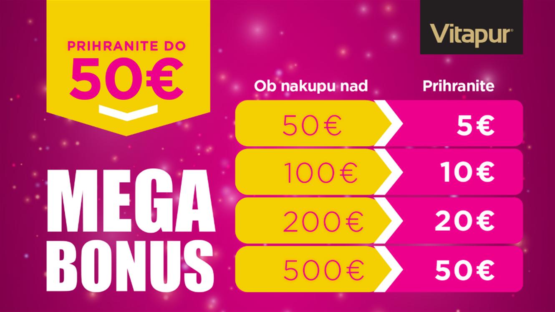 Vitapur: do 50 € dodatnih prihrankov z MEGA BONUSOM