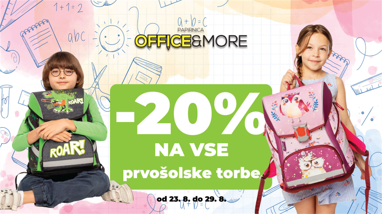 Office&More: – 20 % na šolske torbe in sete za 1. triado