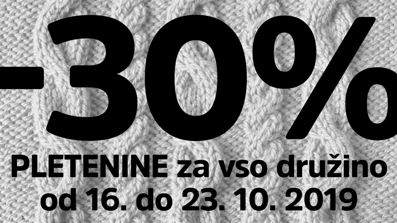 30 % popusta na pletenine za vso družino