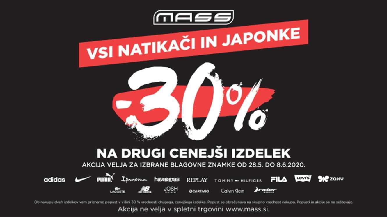 MASS: 30 % popusta na drugi izdelek za natikače in japonke