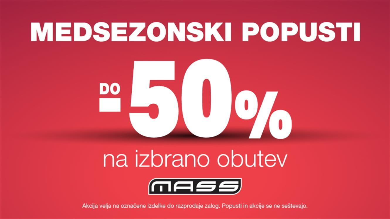 MASS: Medsezonski popusti do minus 50 % na izbrano obutev