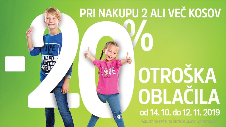 - 20 % pri nakupu 2 ali več kosov otroških oblačil