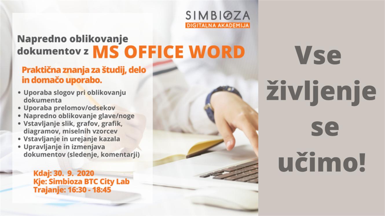 Delavnica: Napredno oblikovanje dokumentov z MS Office Word